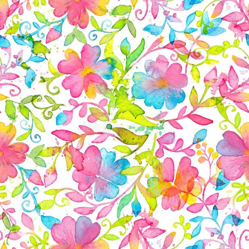 Modèle sans couture floral heureux et lumineux avec les fleurs et les feuilles tirées par la main d'aquarelle illustration stock