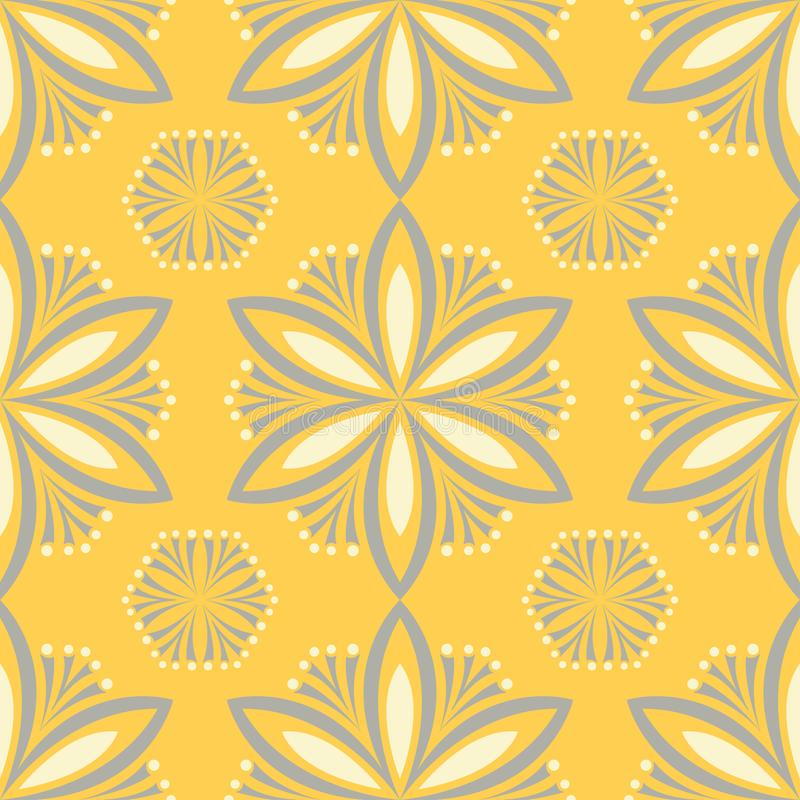 Modèle sans couture floral jaune Fond avec la conception de fleur illustration stock
