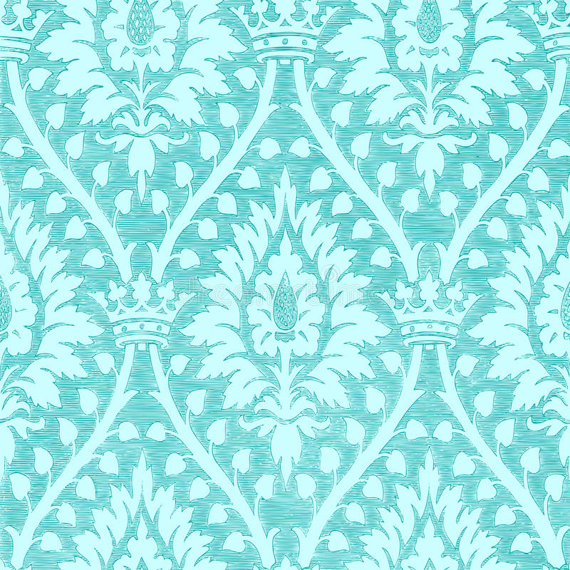 Modèle sans couture floral léger bleu avec le fond de vintage de couronne illustration de vecteur