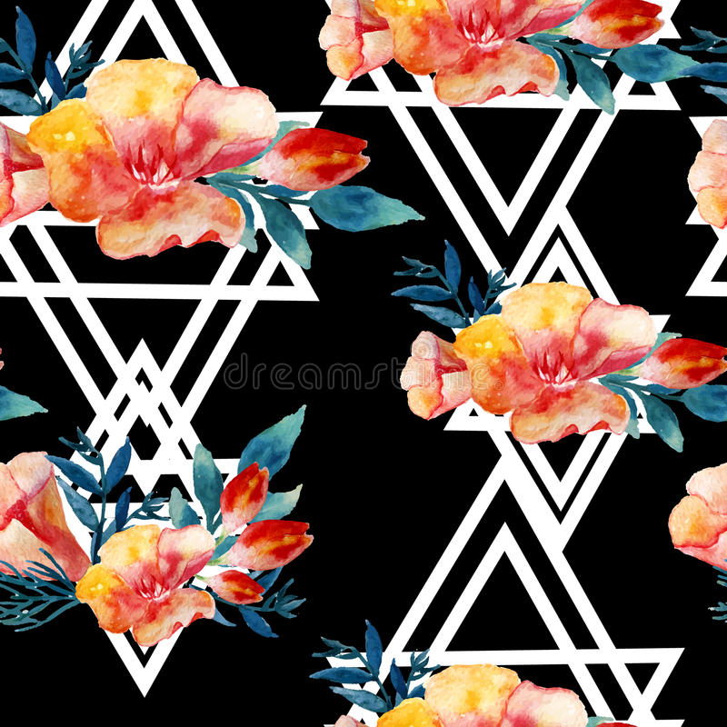 Modèle sans couture floral moderne d'aquarelle de vecteur avec des feuilles et des fleurs de vintage Conception artistique pour d illustration libre de droits