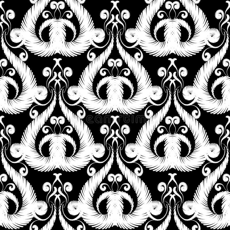 Modèle sans couture floral noir et blanc de broderie texturisée Dirigez le fond ornemental Fleurs baroques de damassé de tapisser illustration libre de droits