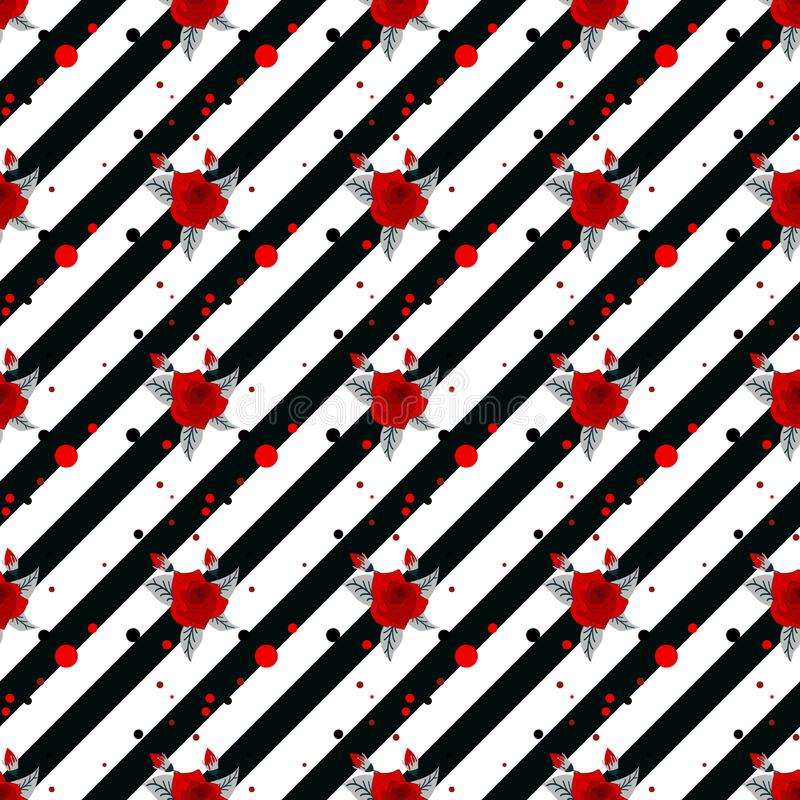 Modèle sans couture floral, roses rouges sur le fond rayé blanc noir Impression florale élégante, illustration de vecteur illustration de vecteur