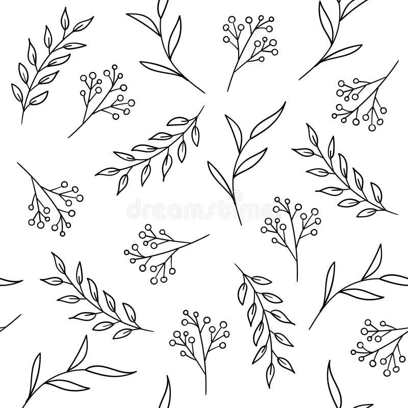Modèle sans couture floral tiré par la main avec des plantes et des baies illustration libre de droits