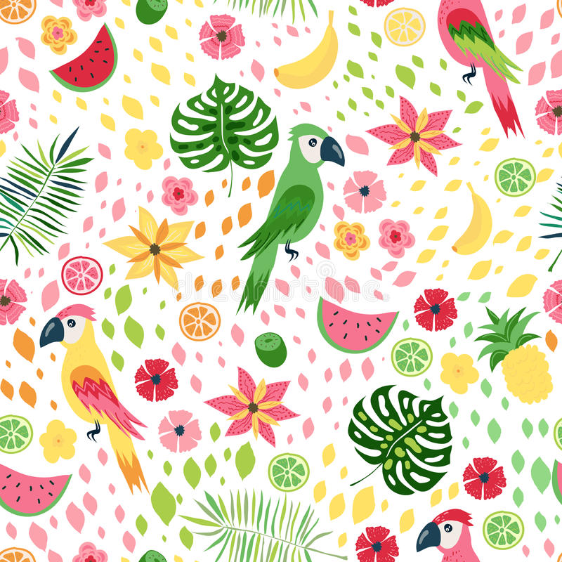 Modèle sans couture floral tropical de vecteur illustration de vecteur
