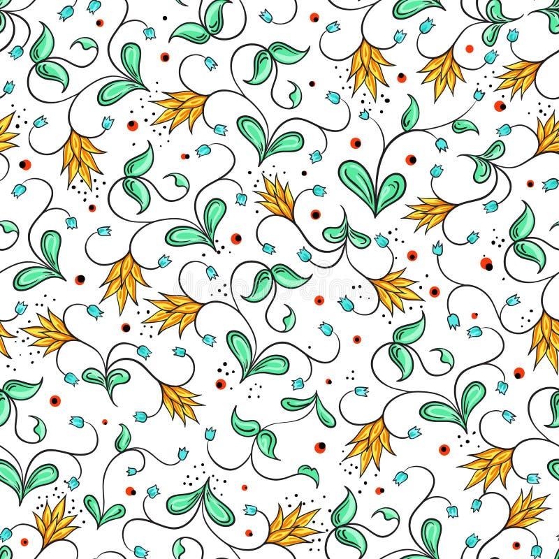 Modèle sans couture folklorique russe Beaux motifs floraux et composition unique Lumière du vecteur art Ornement traditionnel rus illustration stock