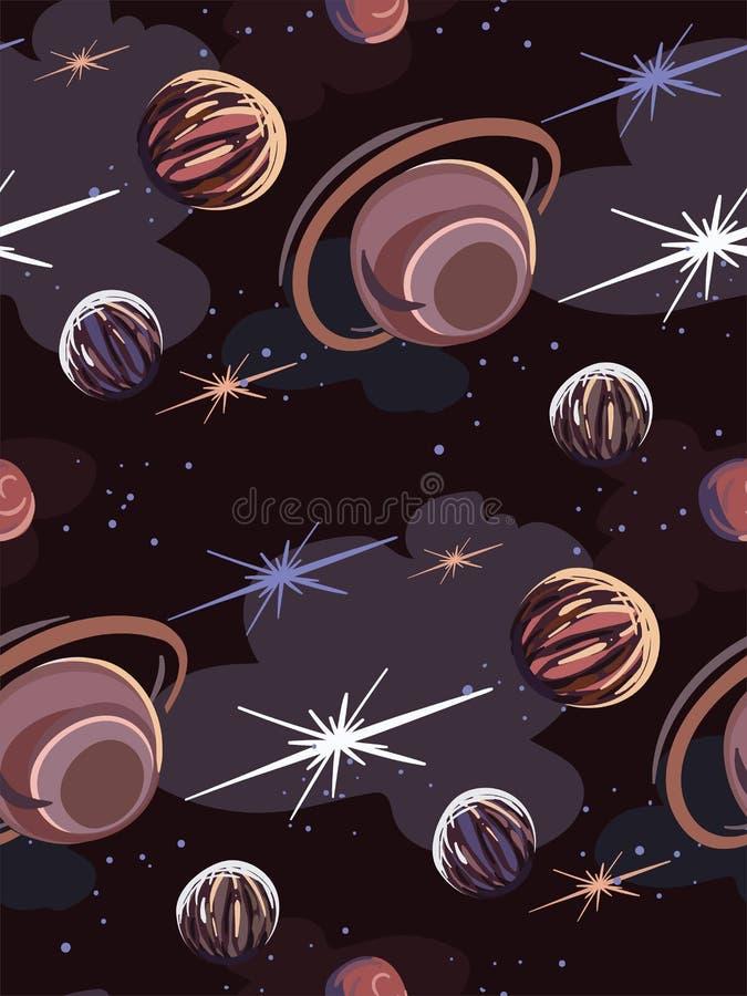 Modèle sans couture foncé d'illustration de bande dessinée de vecteur de galaxie illustration stock