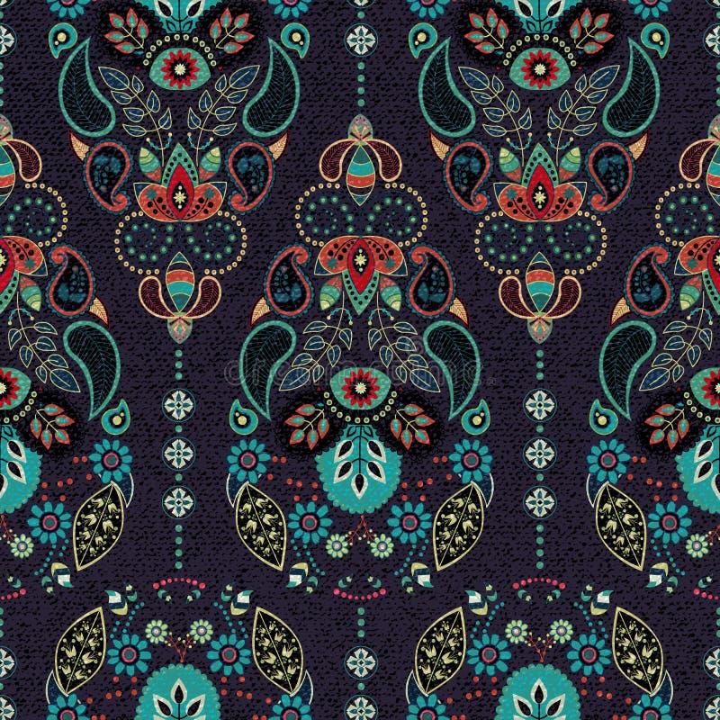 Modèle sans couture foncé de Paisley Contexte décoratif original, style indien illustration stock