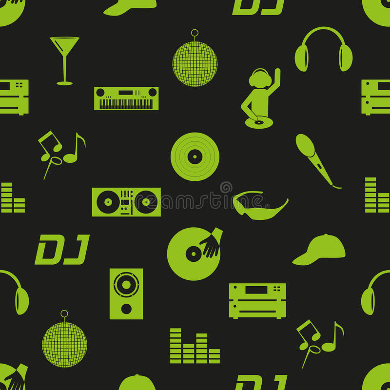 Modèle sans couture foncé eps10 d'icônes du DJ de club de musique illustration de vecteur