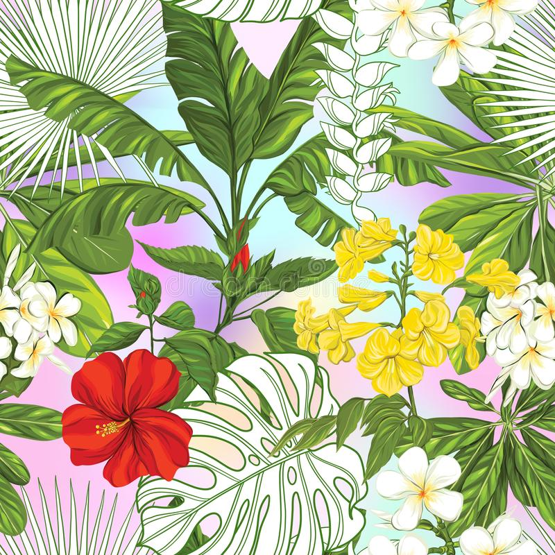 Modèle sans couture, fond avec des plantes tropicales : monstera, strelitzia, bouganvillée, illustration de vecteur