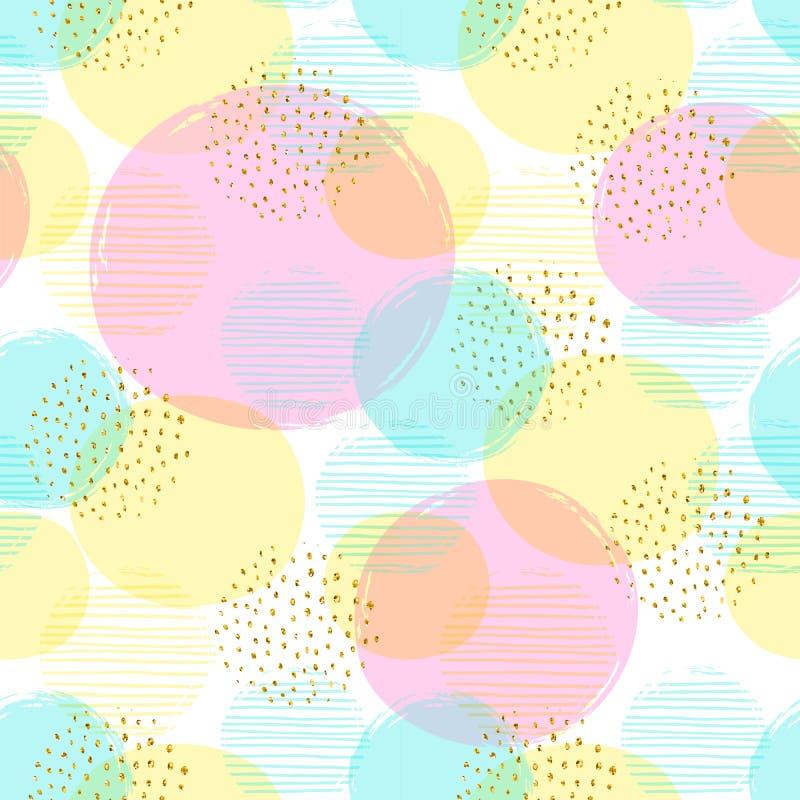 Modèle sans couture géométrique abstrait avec des cercles et des éléments de scintillement d'or illustration libre de droits