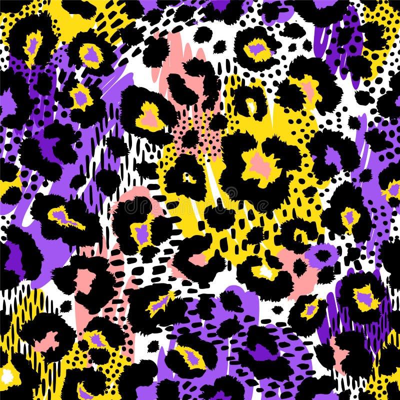 Modèle sans couture géométrique abstrait avec la copie animale Textures tirées par la main à la mode illustration stock