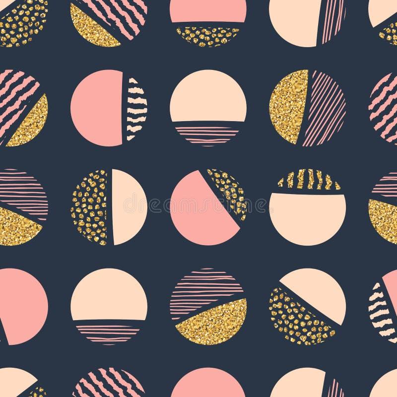 Modèle sans couture géométrique abstrait de répétition avec des cercles illustration libre de droits