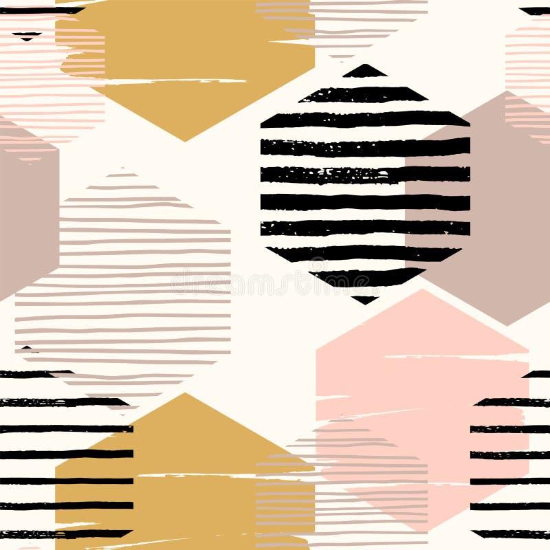 Modèle sans couture géométrique abstrait de répétition avec des hexagones illustration stock