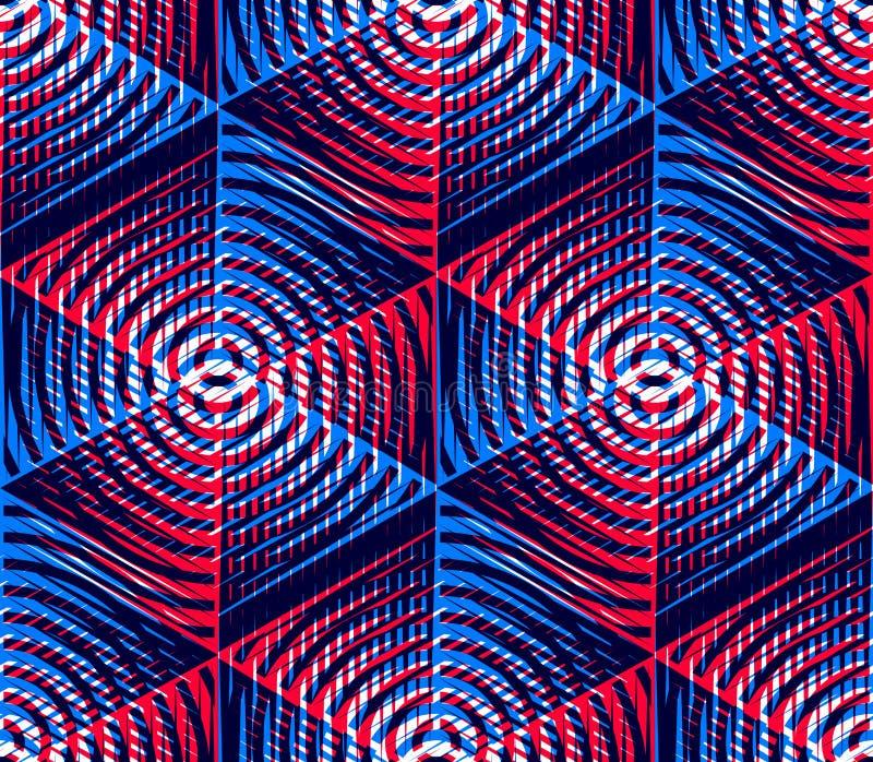 Modèle sans couture géométrique abstrait illusoire lumineux avec le geom 3d illustration de vecteur