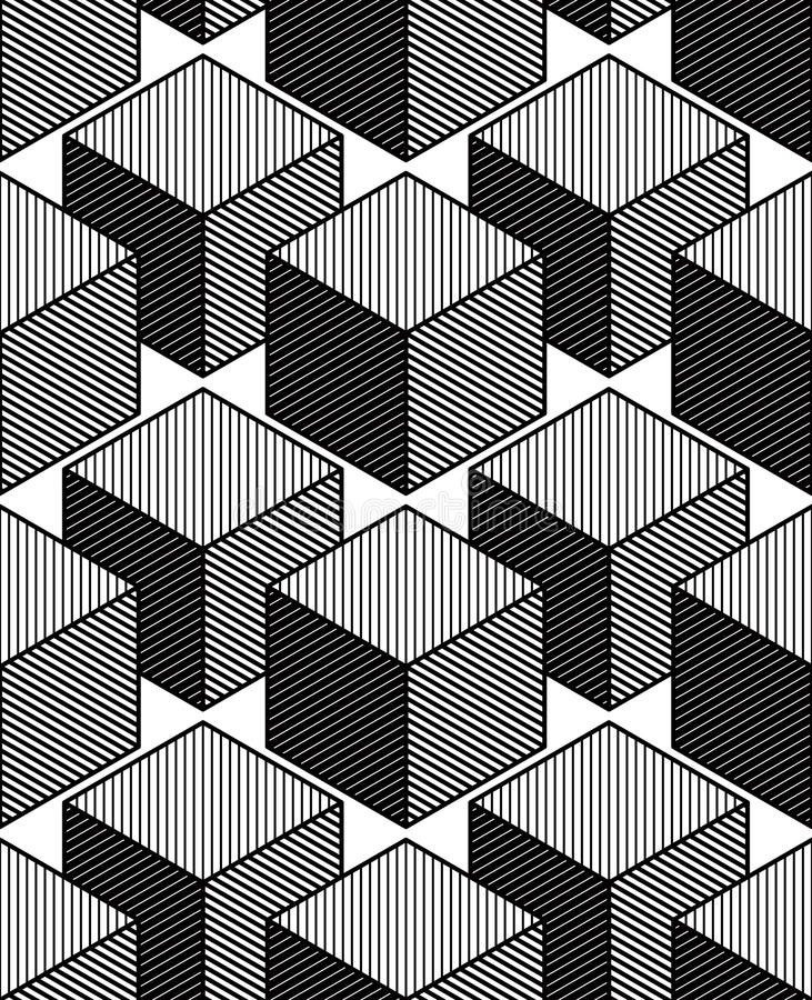 Modèle sans couture géométrique abstrait illusoire monochrome, 3d illustration libre de droits