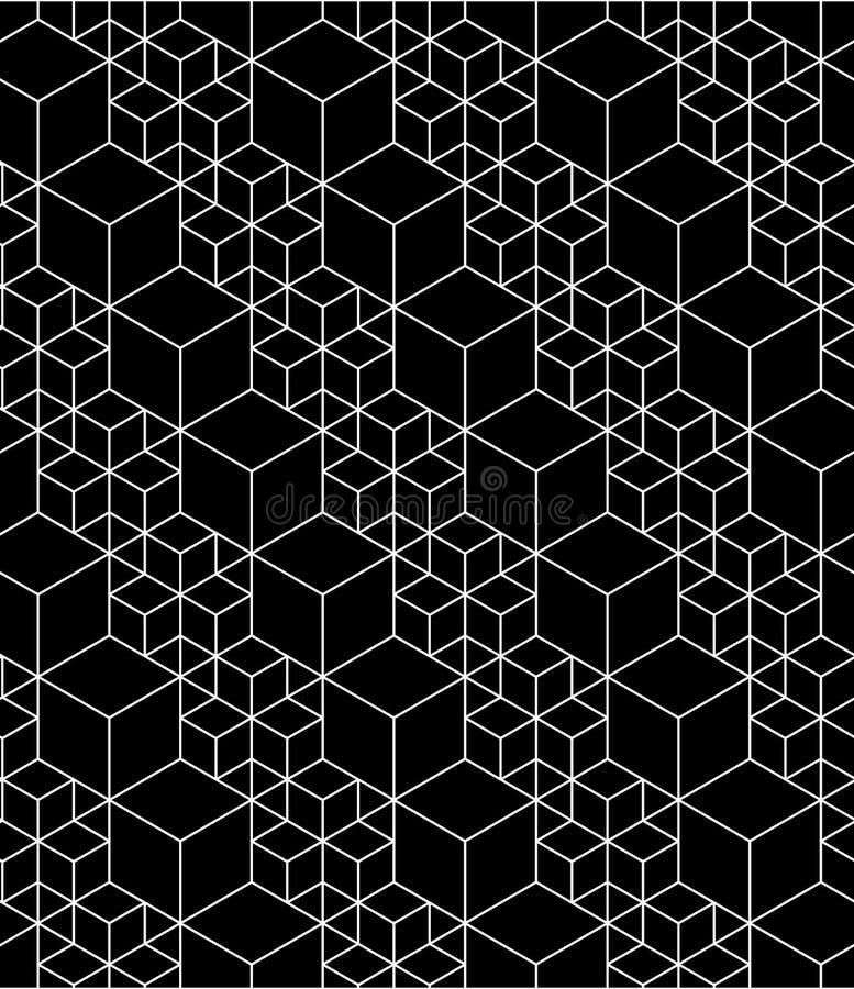 Modèle sans couture géométrique abstrait trompeur monochrome avec l'petit animal illustration stock