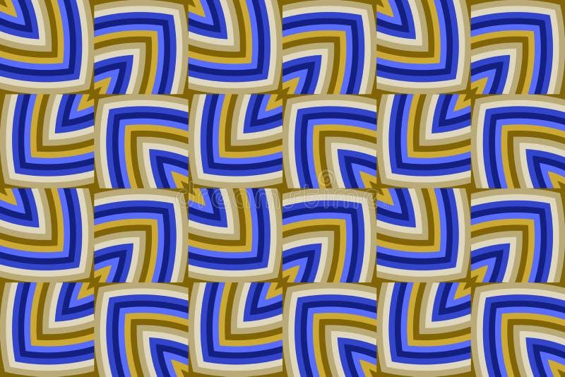Modèle sans couture géométrique décoratif moderne des nuances d'or et bleues illustration stock