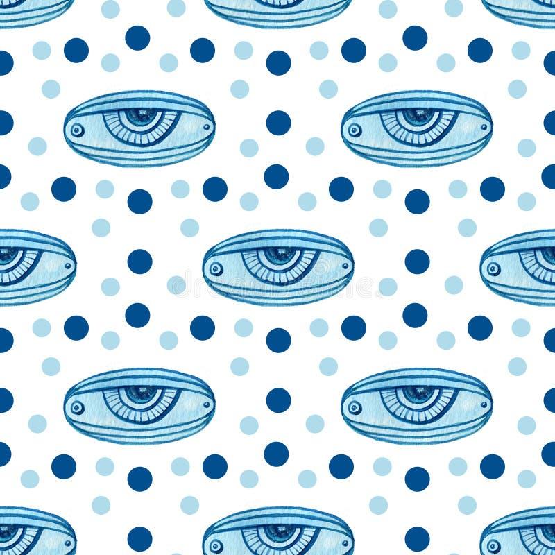 Modèle sans couture géométrique d'aquarelle avec les yeux abstraits Conception moderne de textile illustration de vecteur