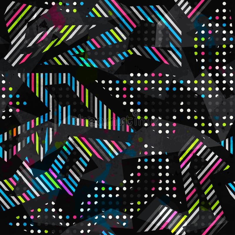 Modèle sans couture géométrique de couleur grunge de spectre illustration stock