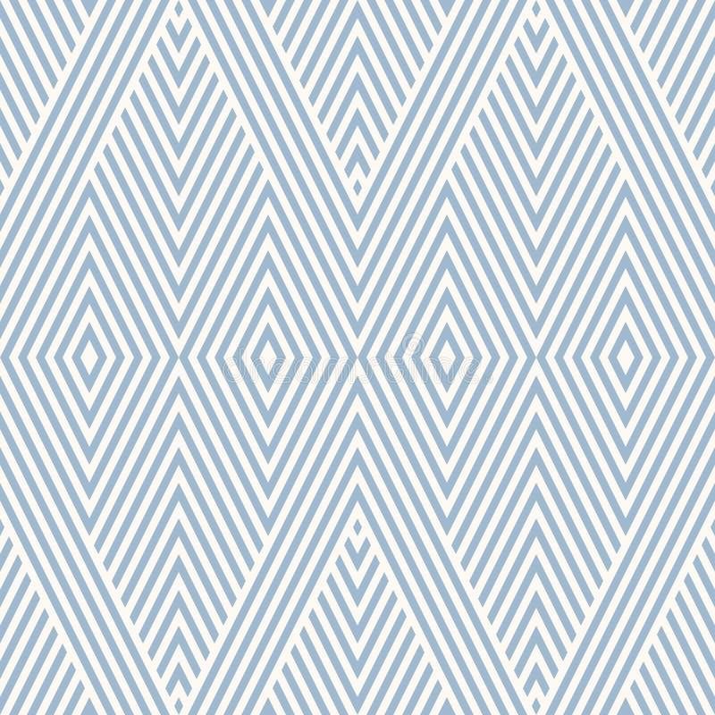 Modèle sans couture géométrique de cru bleu avec des rayures, lignes diagonales, losanges illustration stock