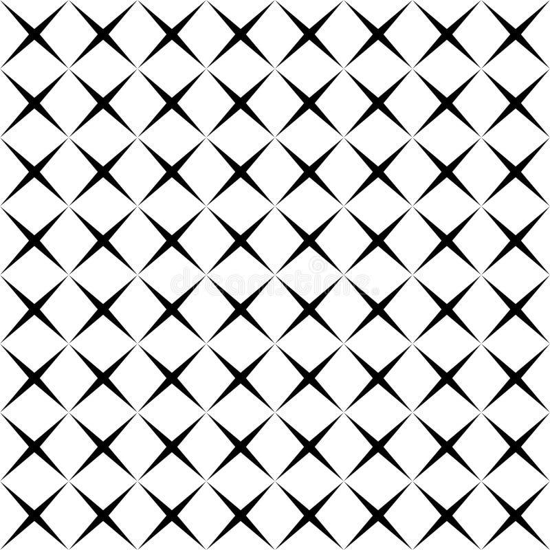 Modèle sans couture géométrique de forme simple noire et blanche d'étoile, vecteur illustration libre de droits