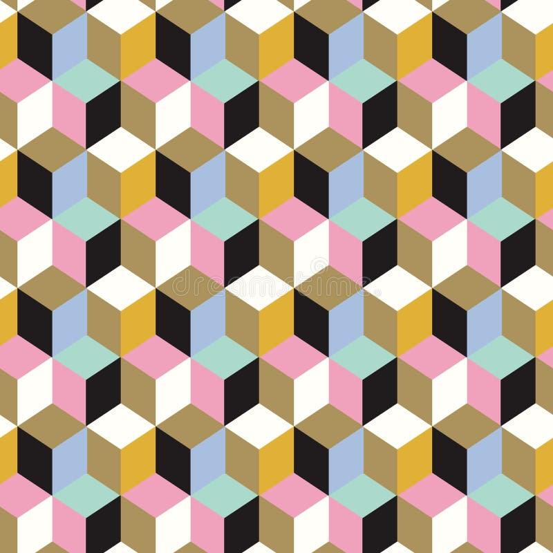 Modèle sans couture géométrique de résumé des cubes en couleur Fond sans couture sans fin de vecteur avec la décoration de cube illustration libre de droits