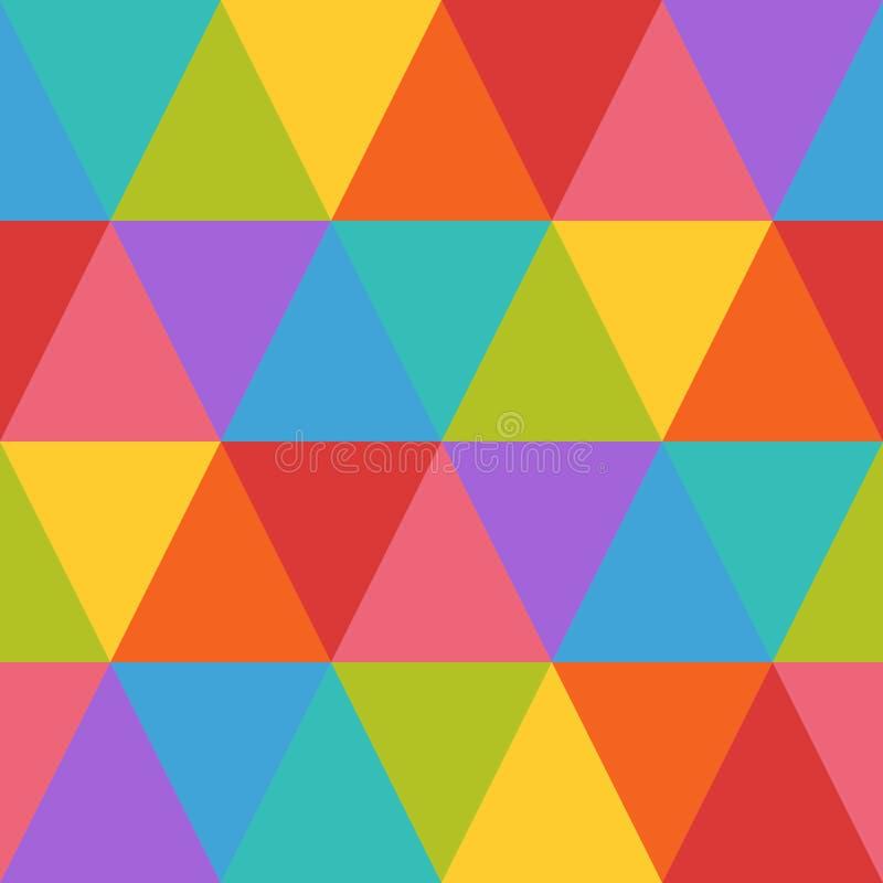 Modèle sans couture géométrique de rétro résumé, rétro modèle de répétition de fond de modèle de surface d'arc-en-ciel pour la co illustration stock