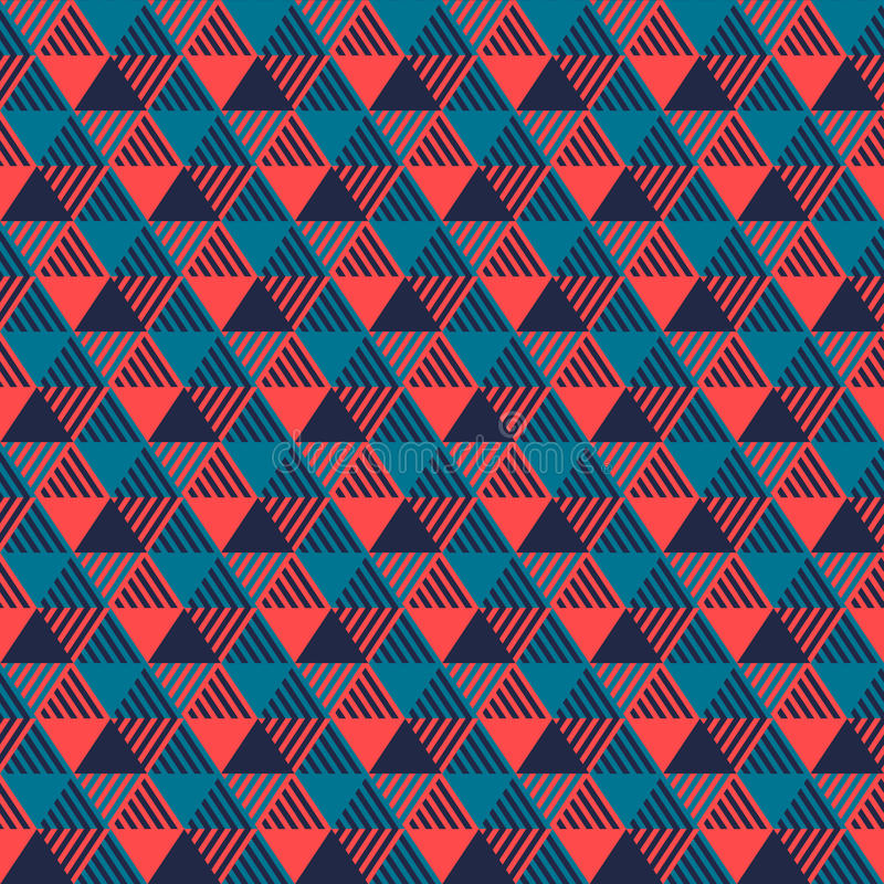 Modèle sans couture géométrique de triangles dans bleu et rose gris, vecteur illustration de vecteur