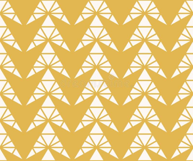 Modèle sans couture géométrique de vecteur avec des triangles, flèches, grille Jaune et blanc illustration libre de droits