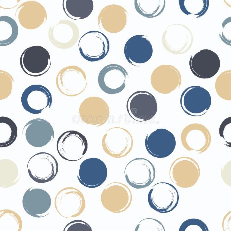 Modèle sans couture géométrique de vecteur mignon Courses de brosse, points de polka Texture grunge tirée par la main Formes abst illustration stock