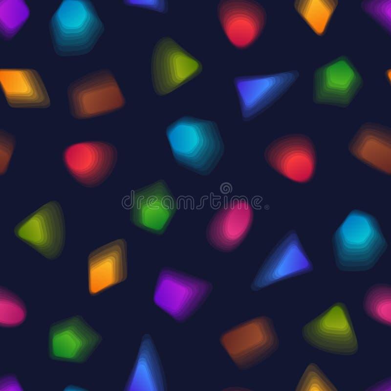 Modèle sans couture géométrique des figures transparentes colorées sur le DA illustration de vecteur
