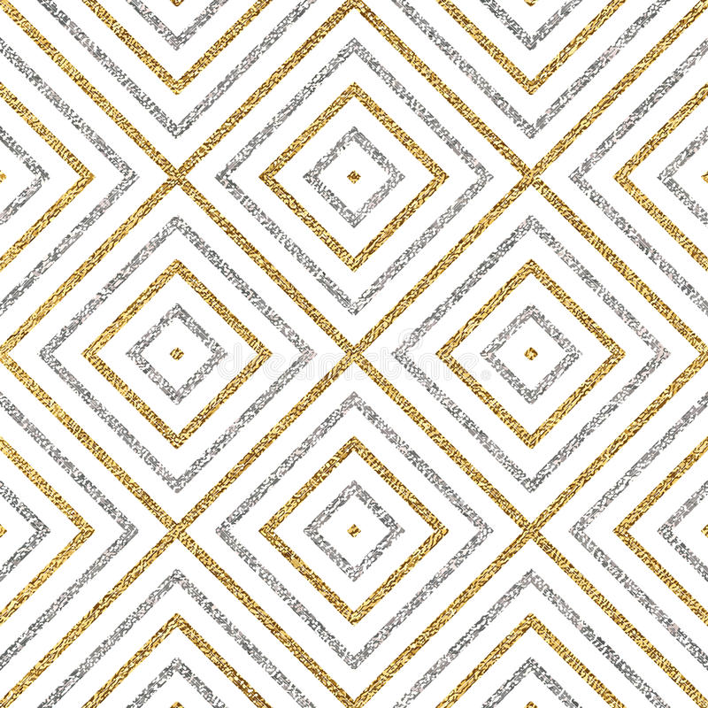 Modèle sans couture géométrique des lignes ou des courses diagonales d'argent d'or illustration de vecteur
