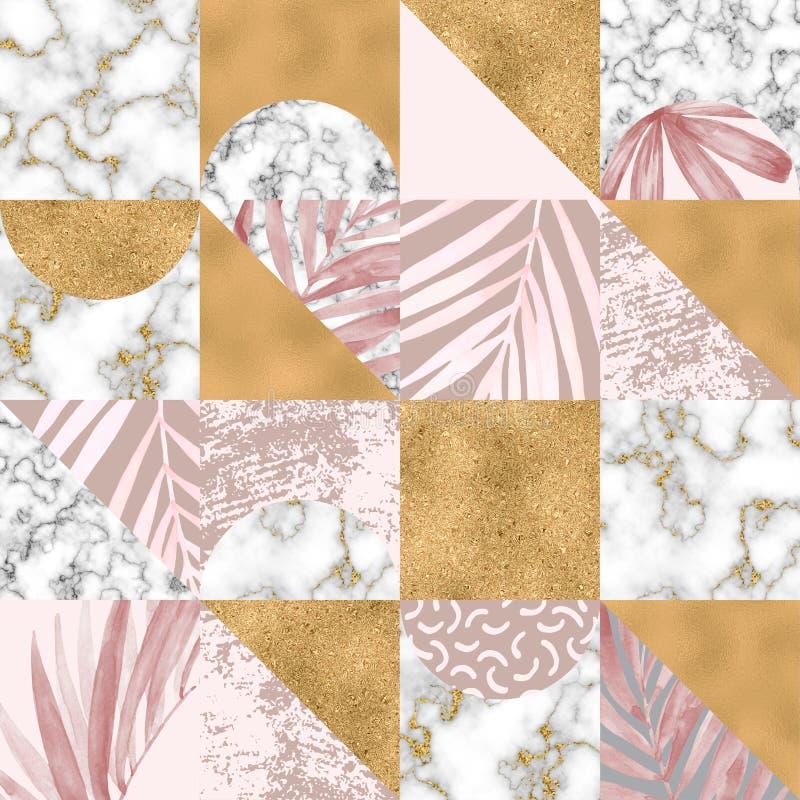 Modèle sans couture géométrique : feuilles tropicales d'aquarelle, papier de marbre numérique, feuille d'or, texture grunge en pa illustration stock