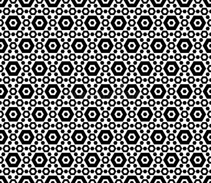 Modèle sans couture géométrique hexagonal noir et blanc illustration libre de droits