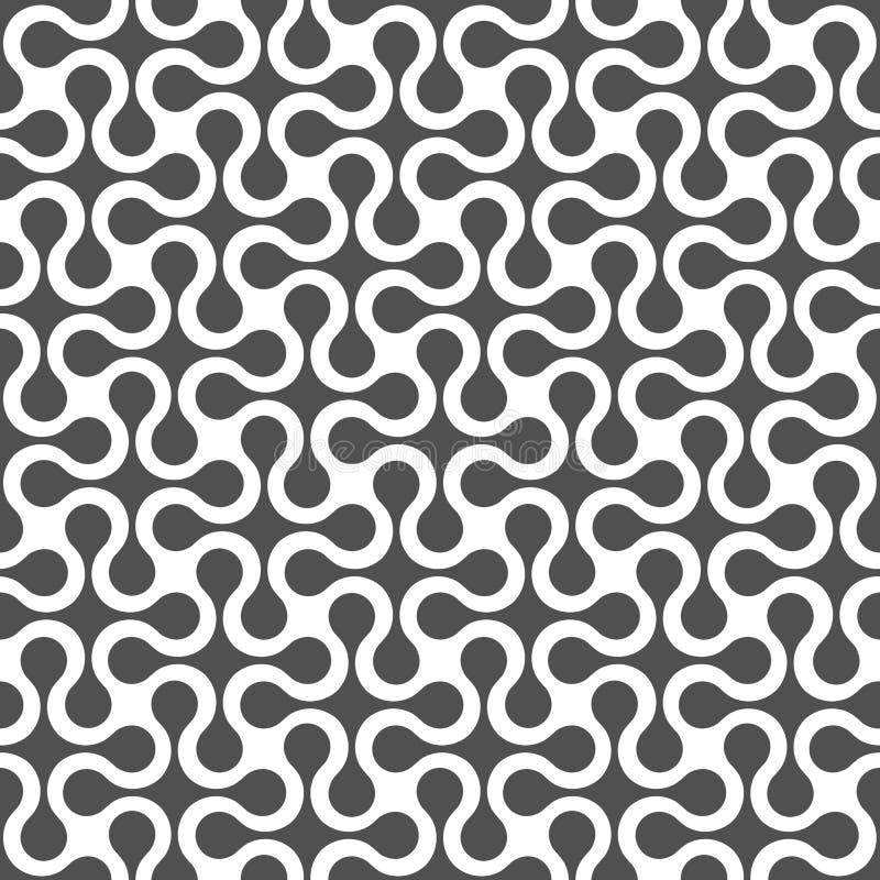 Modèle sans couture géométrique incurvé par monochrome illustration libre de droits