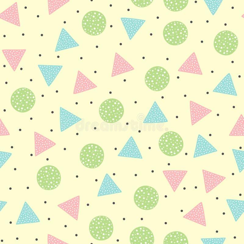 Modèle sans couture géométrique mignon Autour de et formes colorées triangulaires Dessiné à la main illustration stock
