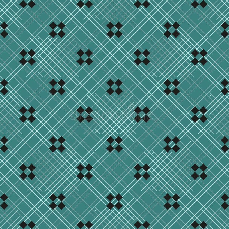Modèle sans couture géométrique minimaliste de vecteur avec de petites croix, places Texture noire et verte minimale simple Confi illustration stock