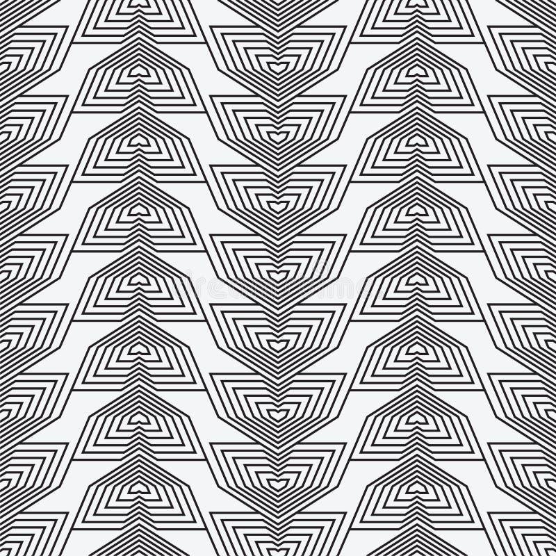 Modèle sans couture géométrique moderne de vecteur Ensemble de milieux sans couture noirs et blancs Lignes, cube illustration libre de droits