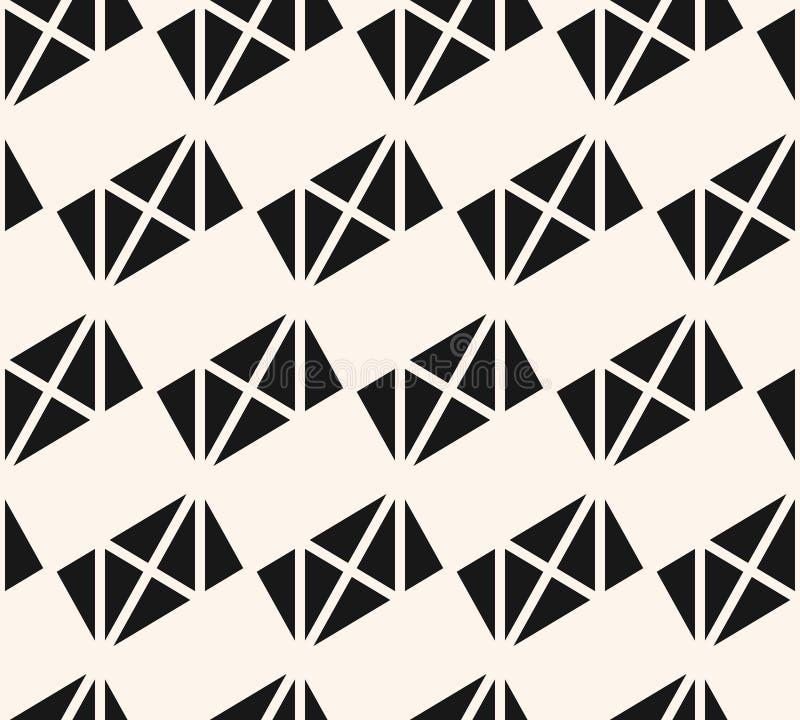 Modèle sans couture géométrique noir et blanc de vecteur avec des triangles, rectangles illustration de vecteur