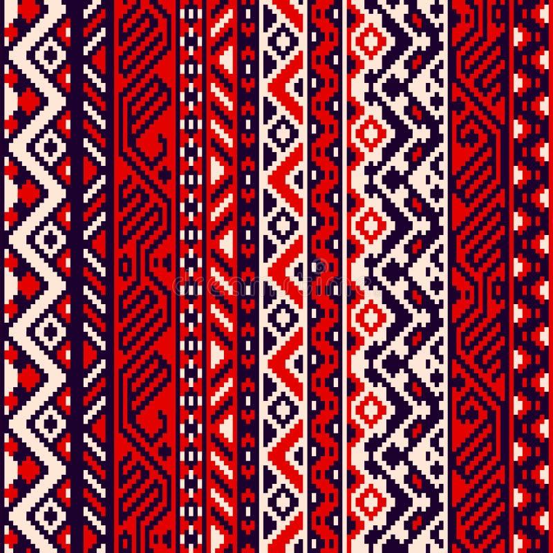 Modèle sans couture géométrique rayé ethnique noir et blanc rouge, vecteur illustration libre de droits