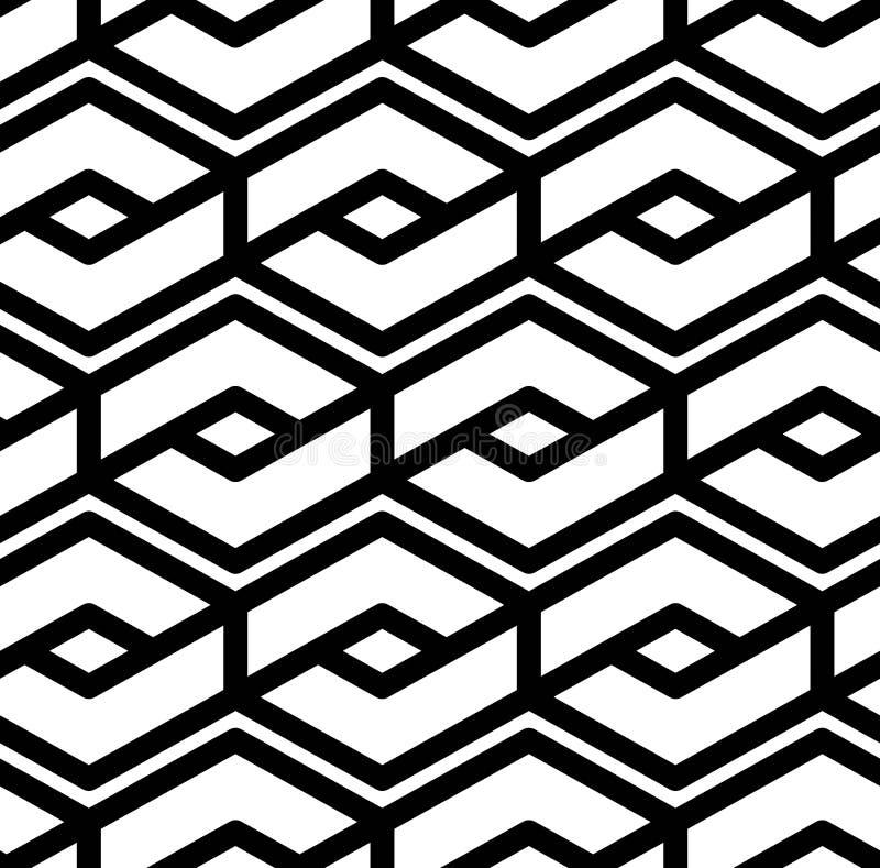 Modèle sans couture géométrique texturisé de résumé noir et blanc Sy illustration de vecteur
