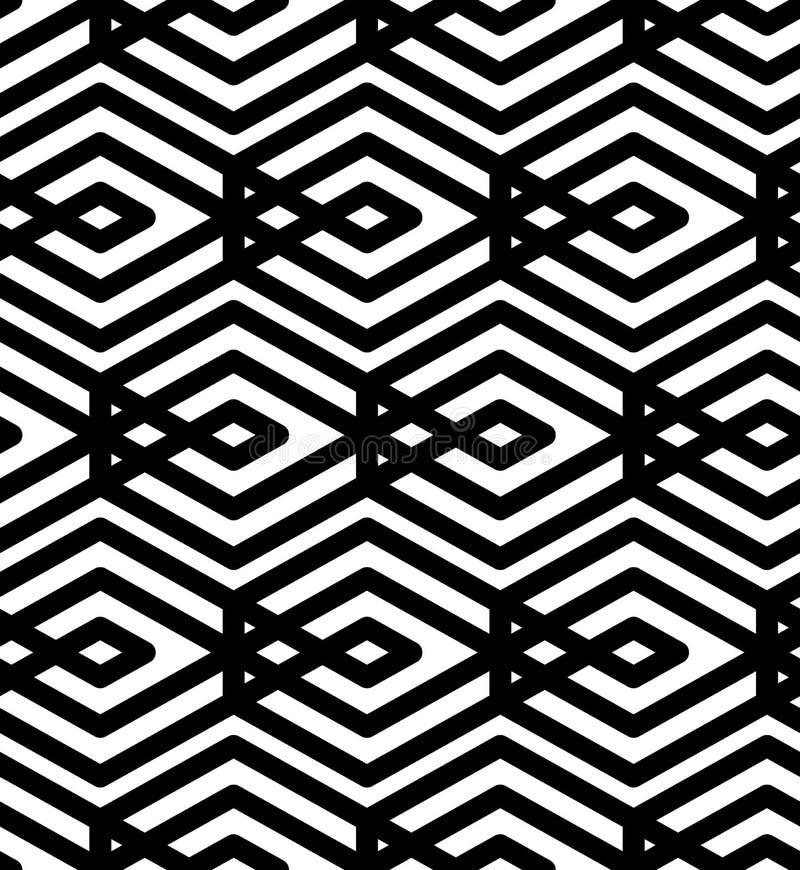 Modèle sans couture géométrique texturisé de résumé noir et blanc Sy illustration stock