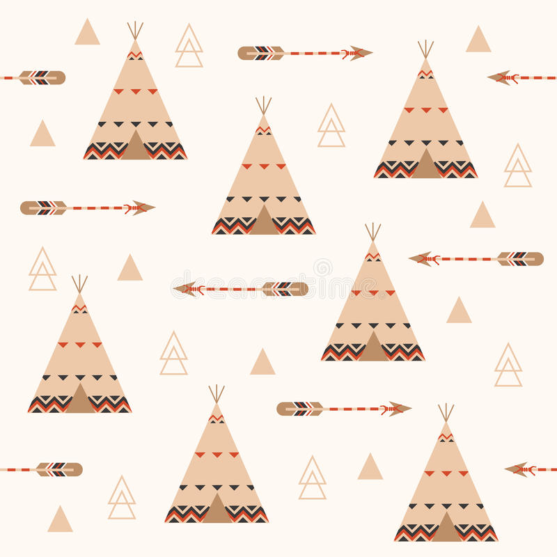 Modèle sans couture géométrique tribal avec des flèches et des plumes Modèle de fond de tipi illustration stock