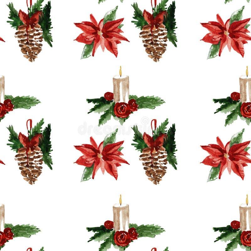 Modèle sans couture gai de Joyeux Noël de houx illustration stock