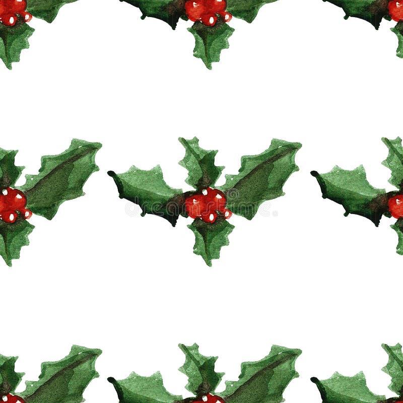 Modèle sans couture gai de Joyeux Noël de houx illustration libre de droits