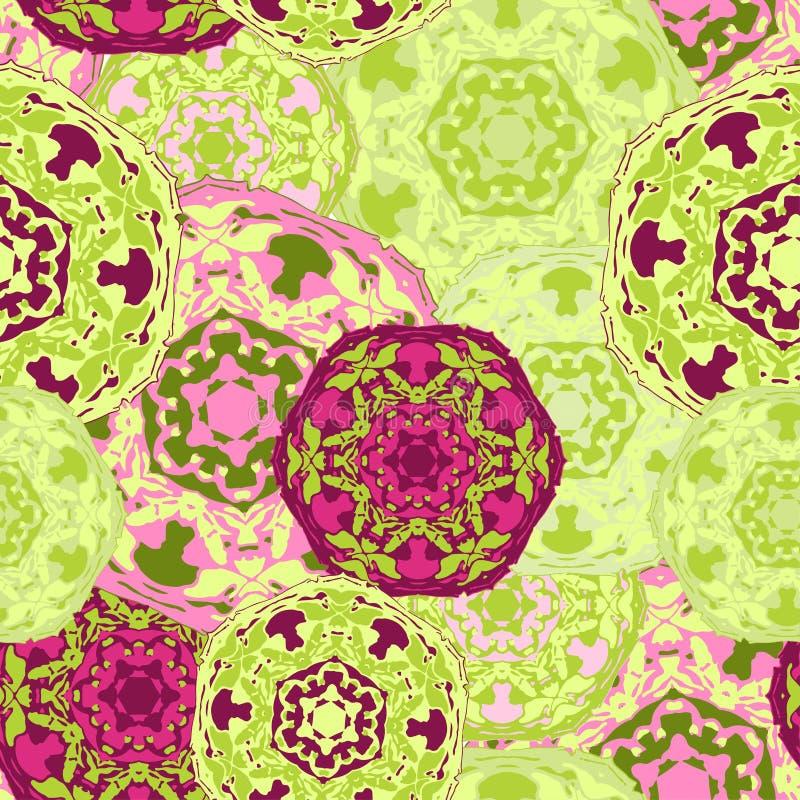 Modèle sans couture gitan des mandalas ronds multicolores abstraits Origine ethnique illustration libre de droits