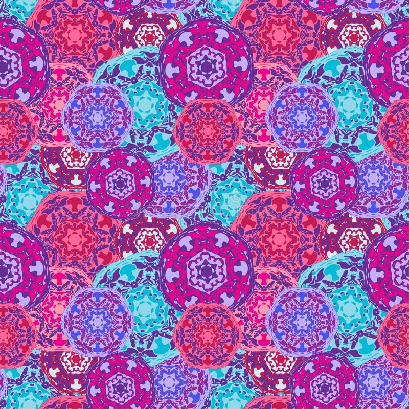Modèle sans couture gitan des mandalas ronds multicolores abstraits Origine ethnique illustration de vecteur