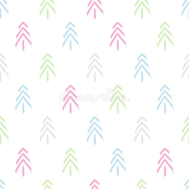 Modèle sans couture graphique d'hiver avec des arbres de Noël Illustration tirée par la main de vecteur Noël de papier d'emballag illustration libre de droits