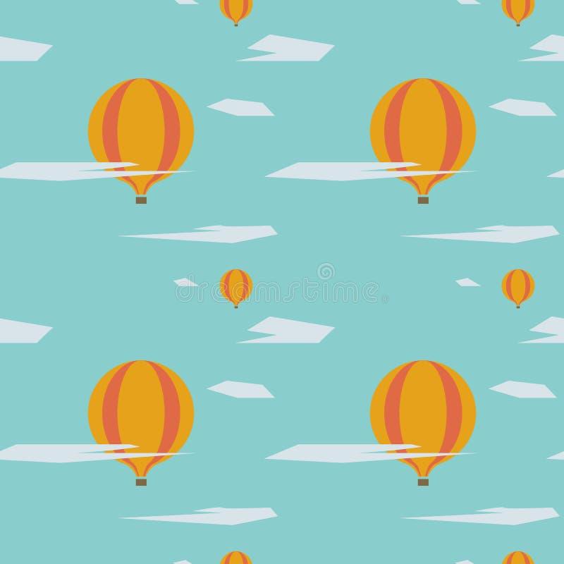 Modèle sans couture graphique des ballons à air chauds image libre de droits