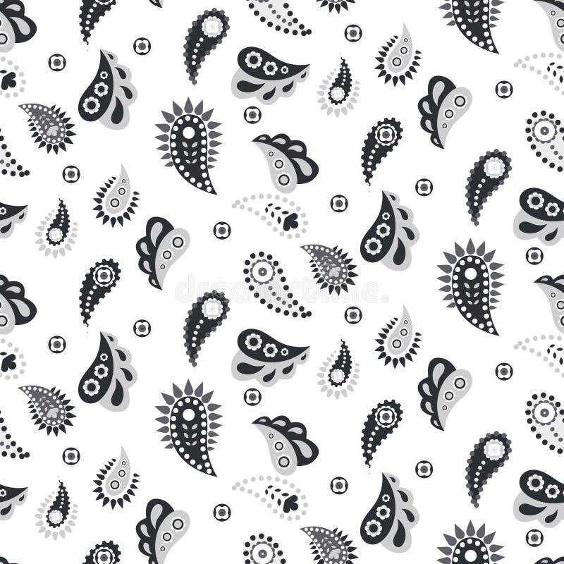 Modèle sans couture gris de vecteur de Paisley illustration stock